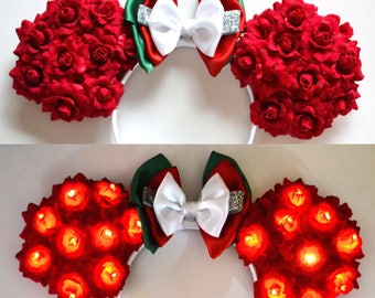 Light-Up Christmas Floral Mouse Ears