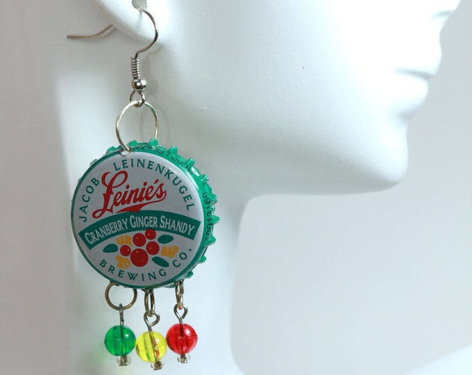 Leinie's Cranberry Shandy Festival Beerings, Upcycled Beer Bottle Cap Earrings, Green Beer Bottle Cap Earrings
