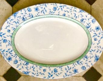 Vintage blue and white platter.  ironstone serving // oval platter // floral pattern // blue and white flowers