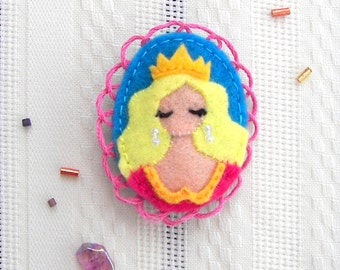 Sleeping Beauty Fairytale Felt Brooch