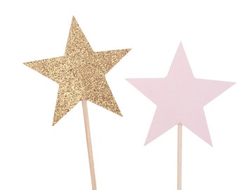 Pink and Gold Star Cupcake Toppers / Pink and Gold Twinkle Twinkle Little Star Party / Pink and Gold Star Party Decorations