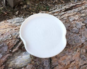 Pottery Spoon Rest in Creamy White Handmade Pottery By Daisy M. Friesen