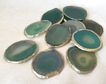 """Set of 2+, 8-10cm (3.5-4"""") Translucent Mint and Emerald Green Agate Stone Coasters with Gold edge-set of 2, 4 or 6 luxury home decor"""