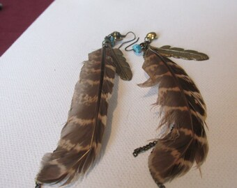 Vintage Earrings, 6 Inch Bird Feather Earrings, Turquoise Chip, Tiny Heart, Brass Feather, Chain,Hook Earrings, Collectible Jewelry