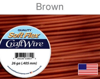 26 Gauge Brown Soft Flex Wire, Round, Non Tarnish, Supplies, Findings, Craft Wire
