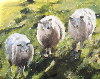 Sheep Painting Sheep Art PRINT Sheep - Art Print - 8 x 10 inches - from original painting by J Coates