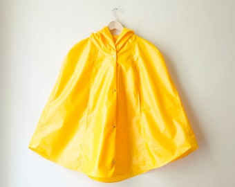 Yellow Raincoat, Vintage Inspired Cape with Hood, Waterproof, Gift For Her, Available in Violet, Green, Sky Blue, Orange