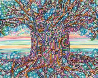 Art Print, Giclee, Baobab Tree, Gratitude, Africa, Madagascar, Native Tribal Roots, Visualization, Tree medicine, Stars Sky Horizon, Circles