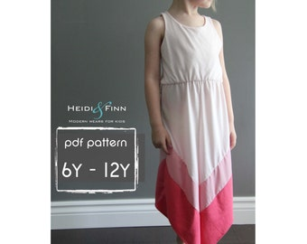 Chevron Dress pattern and tutorial PDF 6y-12y easy sew long tank dress tunic