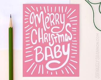Love Christmas Card, Xmas Card, Merry Christmas Baby, Wife Christmas Card, Husband Christmas, Cute Christmas Card, A2 Greeting Card