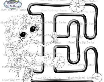 INSTANT DOWNLOAD Digital Digi Stamps Big Eye Big Head Dolls Digi  My Besties Alphabet Letter E  By Sherri Baldy