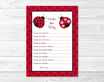 Cute Ladybug Wishes for Baby Cards / Ladybug Baby Shower / Red & Black / Baby Girl Shower / Printable INSTANT DOWNLOAD A254