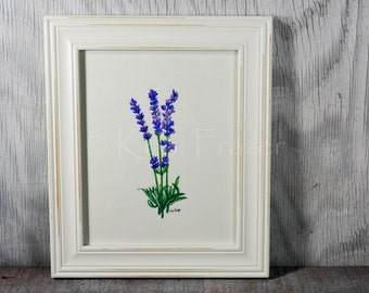 Lavender watercolor painting, wall decor, original painting