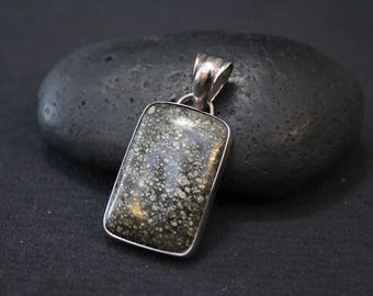 Modern Sterling Silver Pyrite Composite Stone Necklace, Pyrite Jewelry, Modern Gemstone Necklace, Pyrite Jewelry, Mineral Specimen Jewelry