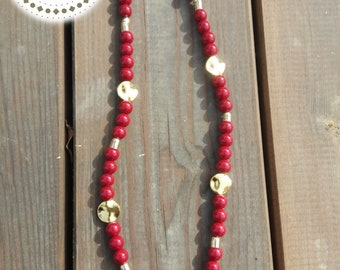 The Redgold appele bead necklace handmade  23inch 59cm ,for woman, holiday gift, gift for her new