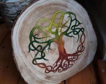 Tree of life on large wooden disc