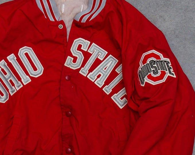 Vintage Ohio State Jacket OSU Football Columbus Ohio Buckeyes Vintage Coat | Scarlet & Gray Size 1980s 1990s Logo Gear Size XL | 7U