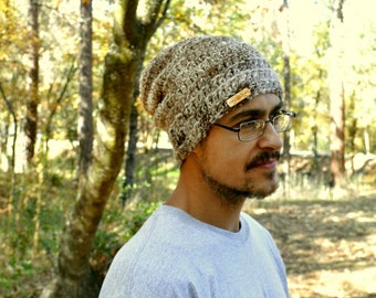Alpaca Wool Beanie California Crochet Beanie Hat Knit Beanie Hat Winter Slouchy Hat The Local in Mixed Beige Brown and Cream