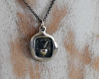 My heart is sincere Wax Seal Necklace - Heart and Feather wax seal pendant - A sincere heart - 279