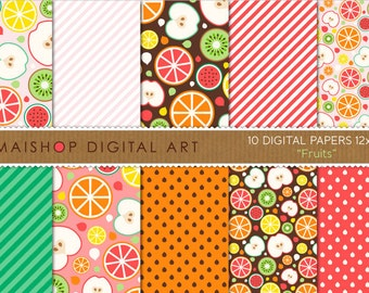Digital Paper 'Fruits' Apple, Lemon, Orange, Watermelon, Kiwi... Green, Red, Pink, Yellow, Orange Patterned Paper Download
