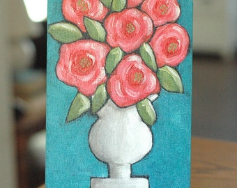 Color Me Happy - Coral Pink Flowers in White Ironstone Vase, Original Still Life, Acrylic Painting, Cottage Decor, Whimsical Art