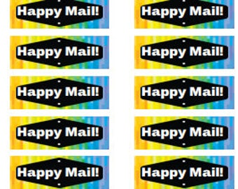 happy mail stickers, rainbow mail stickers, envelope decorations