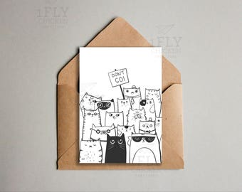 Printable Don't Go Goodbye Cats Greeting Card - From All of Us - Coworker Leaving - Saying Farewell - Instant Download - Black + White - 5x7