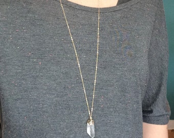 Crystal Quartz Necklace ~ Long 14k Gold Filled Boho Pendant Necklace ~ Minimal Everyday Layering Chain