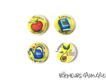 Green gratitude Magnet, Il faut un grand coeur, Teacher Gift, School, Les Bonheurs d'Amélie