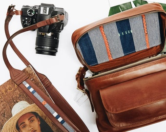 Travel Set Camera Bag, Camera Strap, Stylish Leather Camera Bag, Women's Travel Accessories, Tan Camera Bag, Tan Leather Strap, Vintage Bag