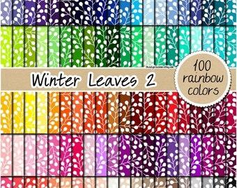 SALE 100 winter leaf digital paper floral digital paper flower clipart rainbow scrapbooking floral pattern 12x12 pastel neutral bright dark