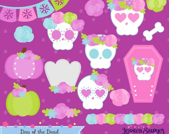 INSTANT DOWNLOAD - Day of the Dead Clipart and Vectors for personal and commercial use