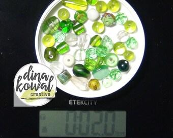 Destash - 2 oz. quality glass bead mix - greens