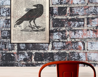 Nevermore, The Raven Print, Edgar Allen Poe, Dictionary Print, Printable 8x10, Goth Home Decor, Literature Lover, Poetry Wall Art, Digital