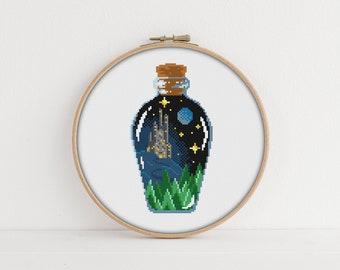Fairytale in a Bottle Cross stitch Pattern / PDF Pattern / Moon cross stitch / Castle Embroidery Pattern / Magic Cross Stitch Pattern