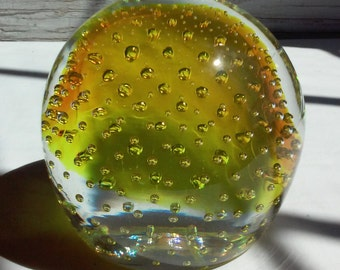 "Vintage Murano Glass Paperweight Made in Venezia Italy.  Simply beautiful. This piece is 3 3/4"" tall and wide. Yellow, clear and bubbles"