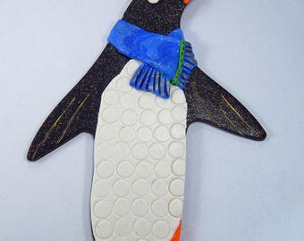 Penguin Ornament. Polymer Clay Ornament. Christmas Ornament. Clay Ornament. Sculpey. Penguin. Holiday Ornament.