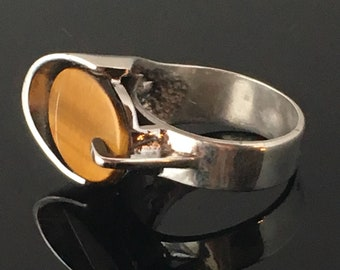 Vintage JLT Sterling Silver & Tiger's Eye Modernist Ring size 8.75