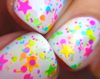 FUNFETTI- Polka Dot-NEON-Custom-Blended Indie Glitter Nail Polish / Lacquer