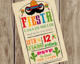 Fiesta Party Invitation for Mexican or Cinco de Mayo Party