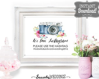 Instagram Sharing Wedding Social Media Poster - INSTANT DOWNLOAD - Editable Wedding Camera Photo Social Share Sign with 3 sizes included