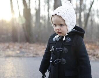 Winter Baby Bonnet - Baby Bonnet - Girl Baby Bonnet - Natural Bonnet - Cotton Bonnet - Toddler Gift - Crochet Toddler Bonnet - Toddler Hat