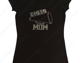 """Women's Rhinestone T-Shirt """" Cheer Mom with Megaphone in All Crystal """" in S, M, L, 1X, 2X, 3X"""