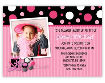 Maquillage Glamour Photo carte anniversaire Invitation Party (impression)