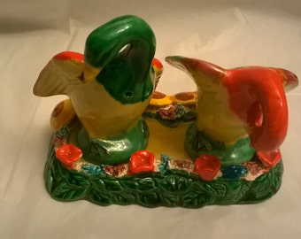 Vintage  Colorful Duck/Geese Three Piece Made in Japan Salt and Pepper Shakers, 1950's