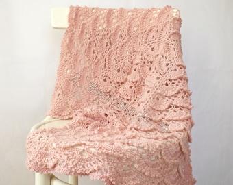 Dusty Pink Lace Shells Crochet Newborn Baby Blanket Christening Baptism Baby Shower Nursery Decor Baby Boy Girl Gift Baby Keepsake