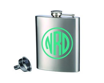Personalized Flask with funnel | Monogrammed Flask