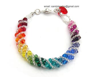 SALE; Size 5 1/2 to 6 inches; Rainbow bracelet; crystal bracelet; Swarovski bracelet; Spectrum rainbow twisty Swarovski Crystal Bracelet