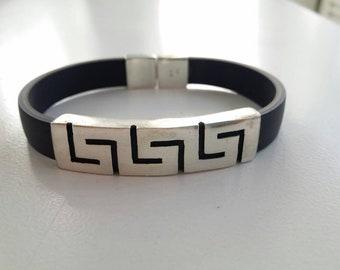 Sterling silver 925 Greek Key man's bracelet on rubber