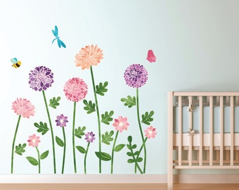 Garden Wall Decals - Flower Fabric Wall Decals